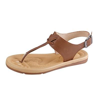 b335090d2415 Challen Womens Ladies Roman Flat-Bottomed Flip Flop Sandals