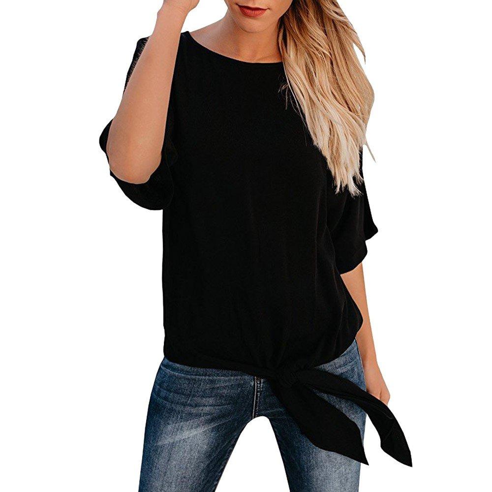 Damark(TM))) Donna T Shirt Basic Maglietta Solido Maniche Corte Donne Girocollo Top Orlo Bendare Tunica Estate Vestiti Camicetta Cime Pullover Camicia Casuale Tank Sciolto Felpa Tee