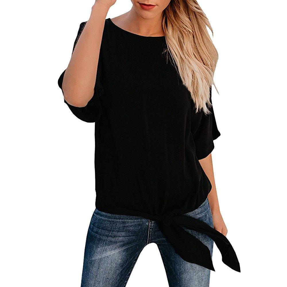 Lmx+3f Womens Casual Loose Fit Basic Top T-Shirt Knot Tie Front Half Sleeve Tee Blouse Solid Color Soft Comfy Tops Black