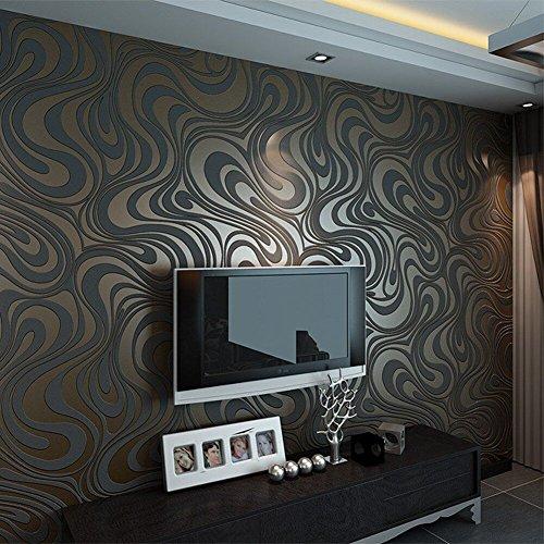 Modern Abstrakt Mustertapete Hanmero Wallpaper Vliestapete Curve D Tapete Wandbild Beflockung Tapete Mm Braun Schwarz  Amazon De Kuche
