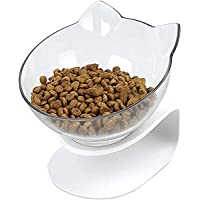 Auriko Slanted Cat Food Bowl - Pet Feeding Bowl - Elevated Transparent Bowl for Cats and Small Dogs
