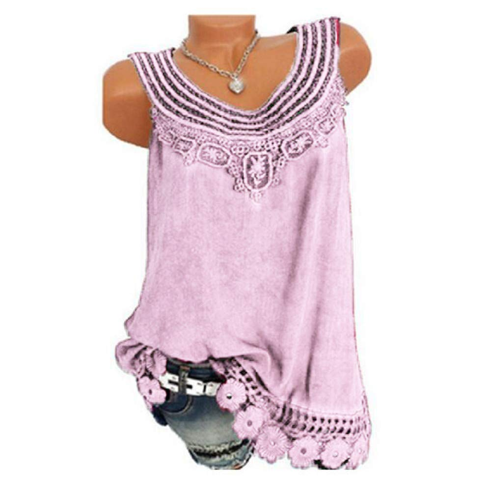 iYBUIA Women O-Neck Sleeveless Pure Color Lace Plus Size Vest Loose T-Shirt Blouse with Hollow Hem Pink