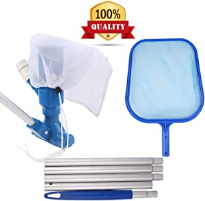 "LMHEJING Swimming Pool Cleaning Set, Leaf Vacuum Cleaner and 47"" Detachable Pole with Skimmer Net Set Swimming Pool Cleaning Supplies"