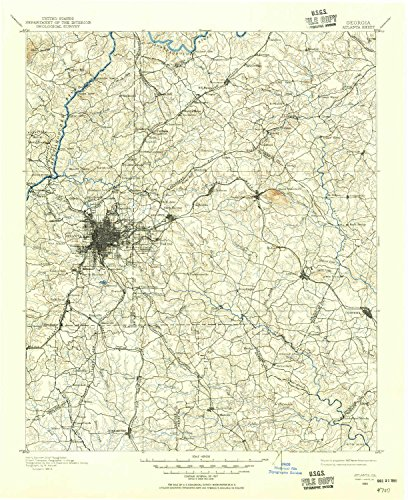 Atlanta GA topo map, 1:125000 scale, 30 X 30 Minute, Historical, 1888, updated 1955, 20.8 x 17 IN - - Town Map Center University