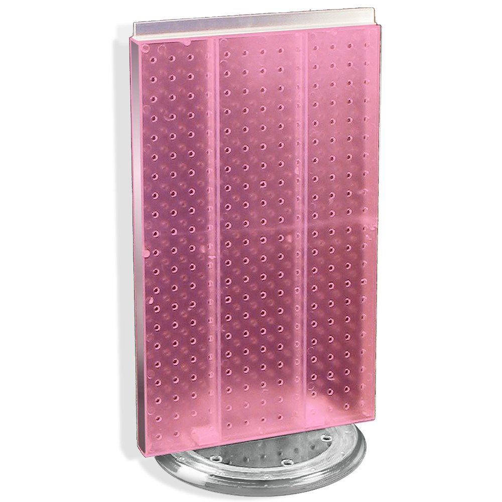 Azar 700513-PNK Pegboard Two-Sided Counter Display, Pink Translucent Pegboard