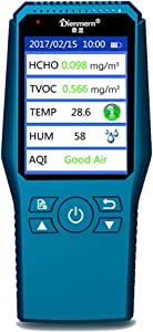 Qooarker Multi Testers Indoor Air Quality Detector Accurate Testing Formaldehyde(HCHO) Monitor with TEMP/HUM/AQI/TVOC Test Handheld Air Quality Meter for Car Outdoor Detection