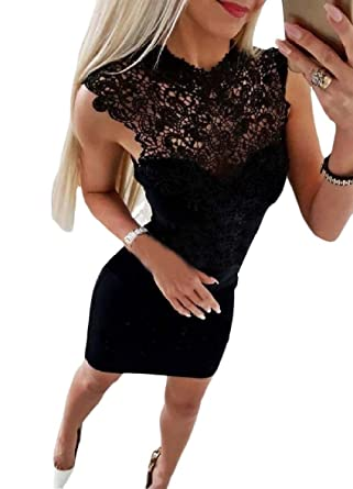 1bcd481aa0bc28 MLG Womens Lace Trim Skater Skirt Patched Sleeveless Sexy Pencil Dress Black  XS