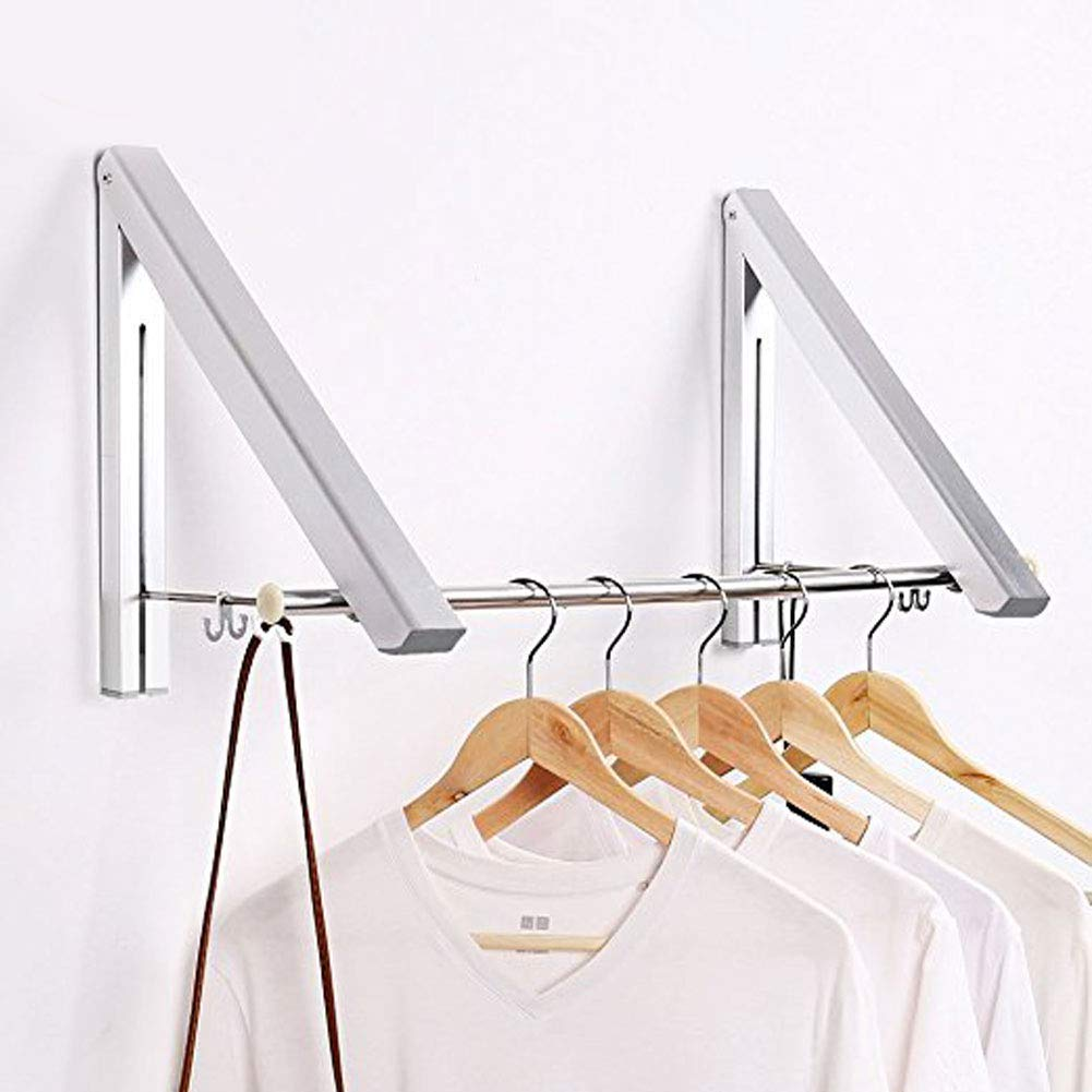 SRHOME Indoor/Outdoor Wall Mounted Folding Clothes Drying Rack- Clothes Hanger --Aluminum Folding Clothes Hanger Hanging on Bathroom,Bedroom Balcony and Laundry,Home Storage Organizer (2 pack)