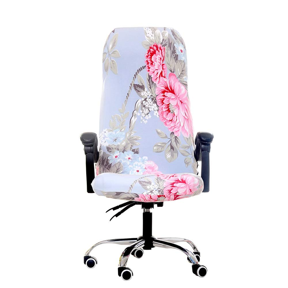 jannyshop Slipcovers Cloth Chair Pads Removable Office Chair Cover Stretch Cushion Resilient Fabric Flowers Seat Protector by jannyshop