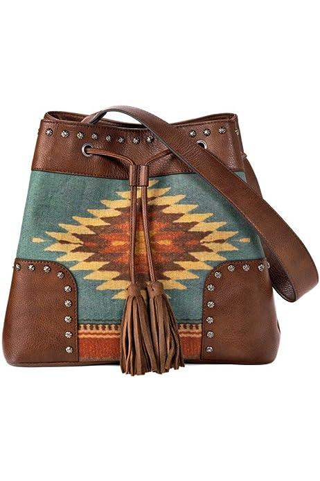 Blazin Roxx Womens Zapotec Style Aztec Print Messenger Bag
