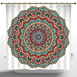 Upscale Shower Curtain by iPrint,Mandala,Traditional Indian Circle Meditation Folk Spiritual Culture Print,Turquoise Teal Orange Red,Bathroom Accessories,with Hooks,72W X 72L Inches