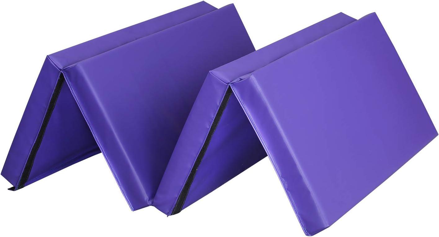 アウトドア ベーシック 4フィートx8フィートx4 超厚手 折りたたみ式 体操 タンブリング エクササイズ ジム マット 家庭用 PVC-紫の