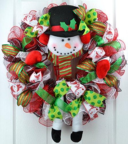 Snowman Wreath | Snowman Legs Christmas Mesh Wreath | Front Door Wreath | White Red Lime Green Black