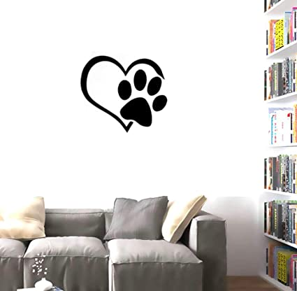cc2a8f36781e BIBITIME Adorable Puppy Paw Heart Decal Valentine's Day Cuddly Dog  Footprint Sticker Pet Window Vinyl Decor