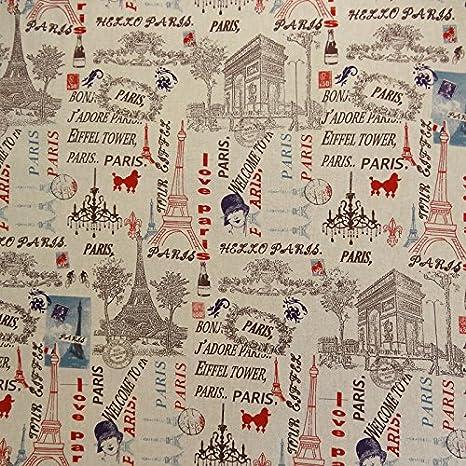 Tela de algodón, diseño de la Torre Eiffel de París, multicolor ...
