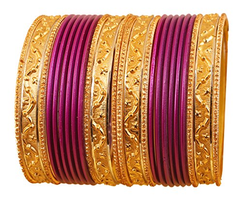 Touchstone New Colorful 2 Dozens Bangle Collection Indian Bollywood Alloy Metal Textured Passionate Purple Designer Special Large Size Bangle Bracelets Set of 24 in Antique Gold Tone for Women.