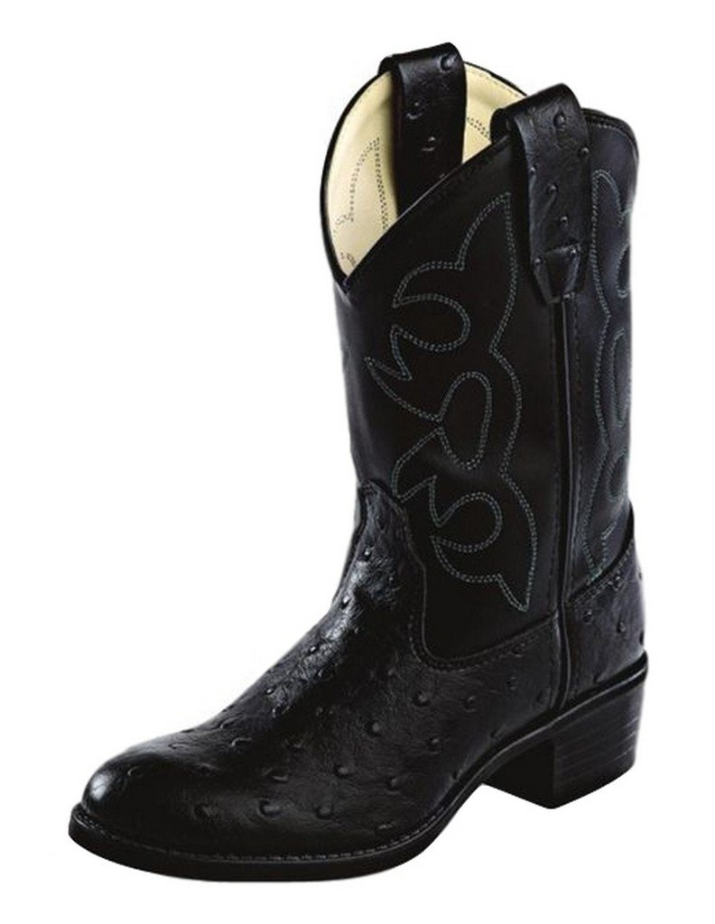 Old West Cowboy Boots Boys Girls Kids Ostrich 11 Child Black OR9110