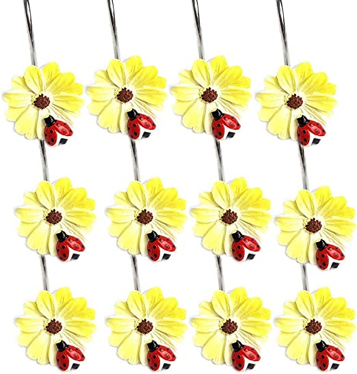 NEW 12pcs Flowers Yellow//Blue Resin Decorative Shower Curtain Hooks