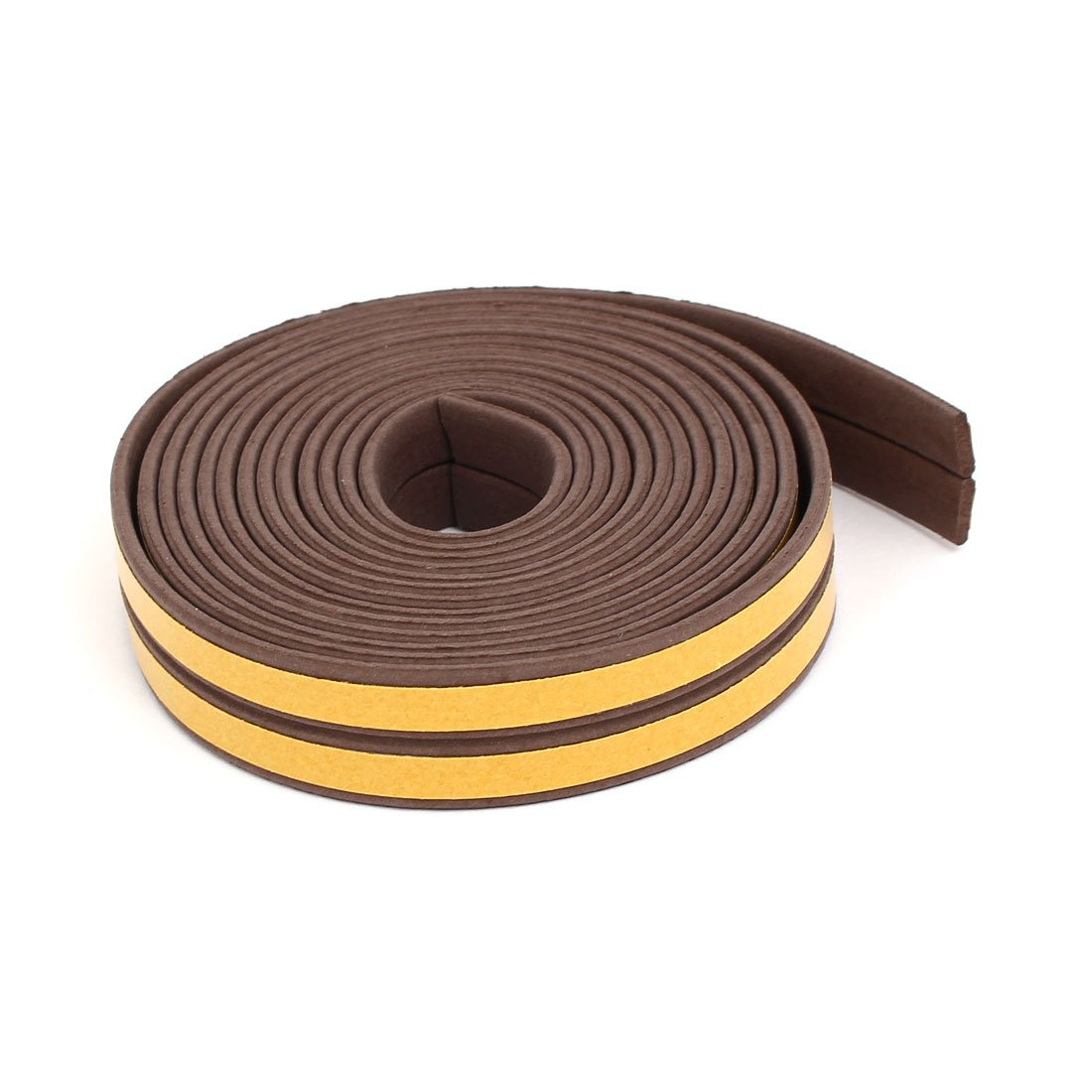 Sourcingmap 2.5M 8.2 Feet EPDM Foam Rubber Self Adhesive Weatherstrip Seal Strip Brown 2pcs