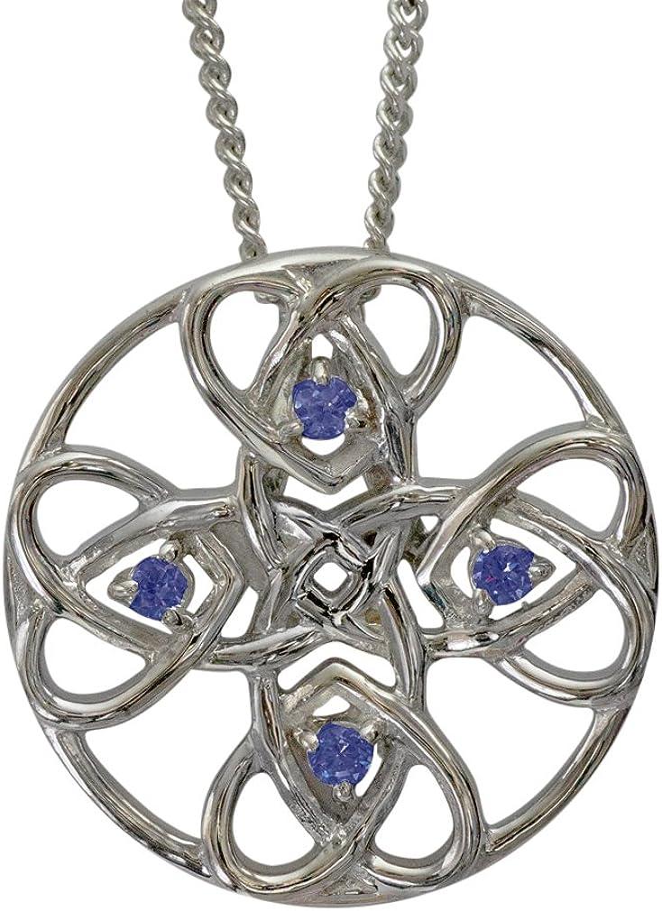 3136 Collar de Plata con Corazones Celtas - Alvie - Montado con 4 Zafiros Azul Real. Colgante Resistente al Deslustre. Piedras Preciosas Creadas