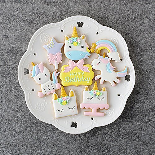 (Set of 16-Pack)Unicorn Cookie Cutter Fondant Mold Set, 8 DIY Cookie Cupcake Cake Fondant Decorating Molds,with 8 Unicorn Printing Mold For Baby Shower Wedding Party Supplies Favors(B)