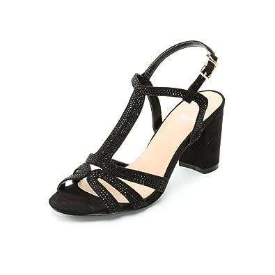 be40d80869ae5c Alexis Leroy Chaussures Style Salomé avec Bride Cheville Sandales à Talon  carré Femme Noir 37 EU