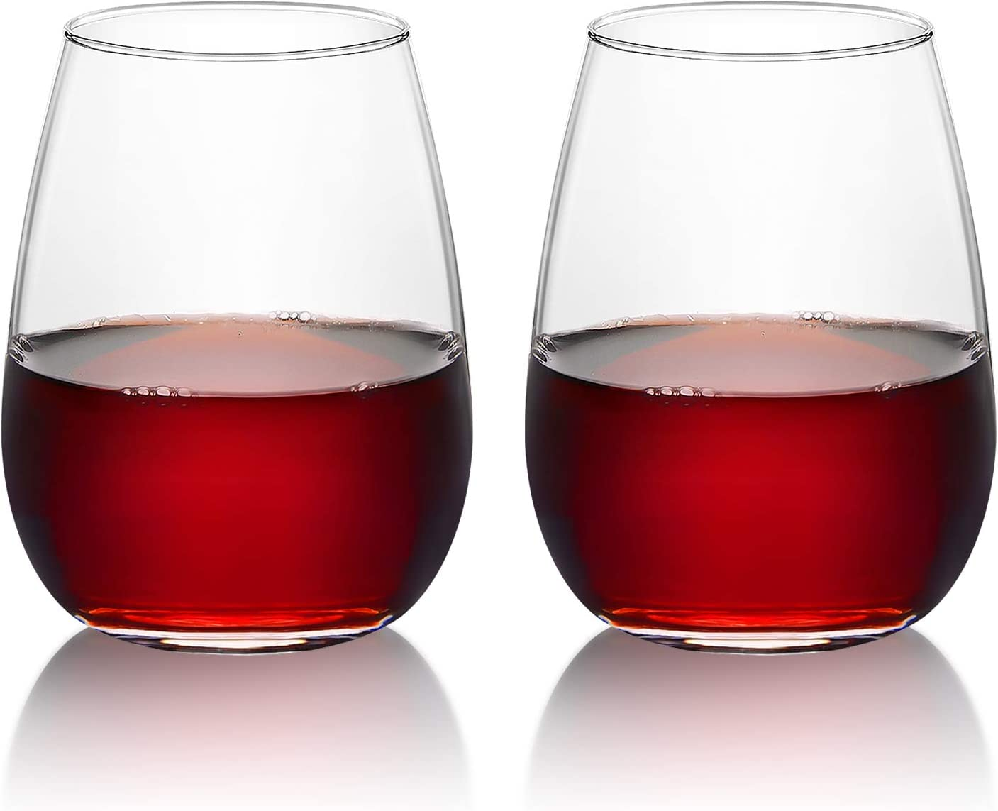 Gtmileo Set of 2 Stemless Wine Glasses, Wine Glass 15Oz for Red or White Wine - Wine Glasses for Women Men Friends - Gift Idea for Birthday Wedding Engagement Party
