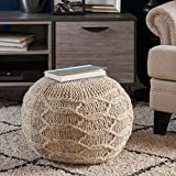 Magnolia Handwoven 100% Wool Pouf (Ivory)