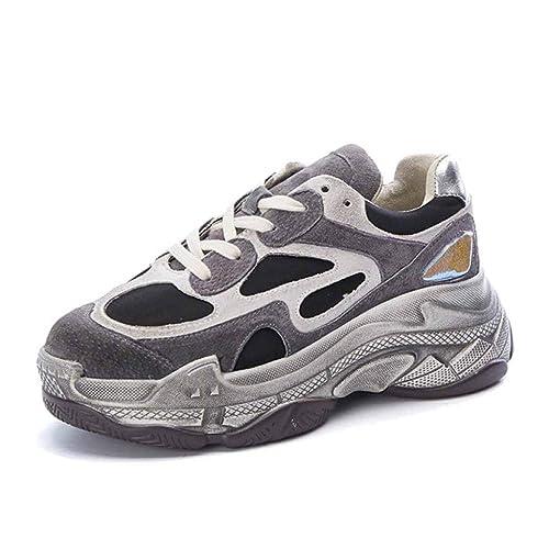 para Mujer Zapatillas De Deporte Chunky Moda Deportiva Zapatos De Corte Bajo Zapatillas De Correr Zapatillas De Deporte Retro Zapatos Blancos: Amazon.es: ...