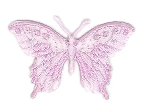 Pequeño tamaño rosa mariposa dibujos bordados para coser, planchar sobre bordado, para manualidades,