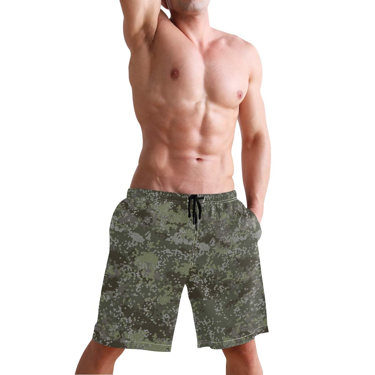 Creative Camo Mens Swim Trunks Quick Dry Beach Board Shorts with Drawstring Pocket