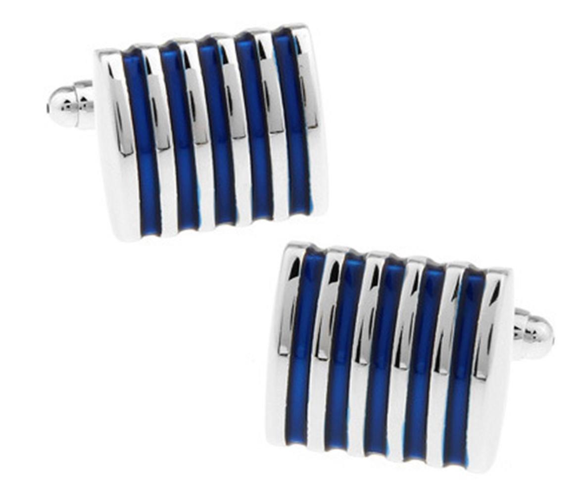 2.0cm 1.2 Chnuo 2 paires de mens argent bleu rayures boutons de manchette formel mode accessoire cadeau pour lui