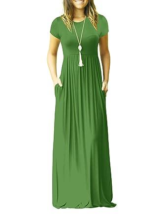 ac38d903f1 Women's Casual Plain Loose Swing Pocket Long Dress Short Sleeve Maxi Dresses  (Army Green,