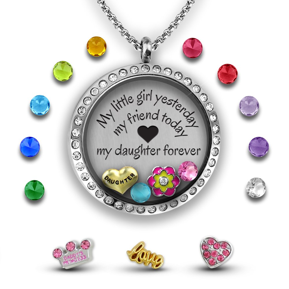 Daddys Girl Necklace Daughter Necklace From Mom Floating Charm Necklace Daughter Gifts From Mom | Daughter Jewelry Floating Charm Locket | Charm Filled Father Daughter Necklace Little Girls Jewelry