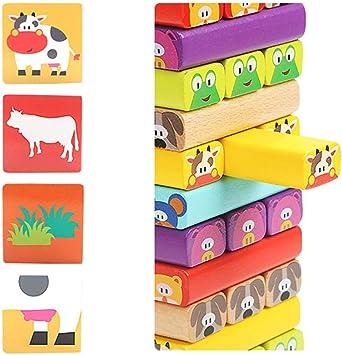 Jannyshop Juego de Torre de Bloques de Madera Animales para Niños (51 Bloques, 24 Piezas de cartón, un Dado: Amazon.es: Juguetes y juegos