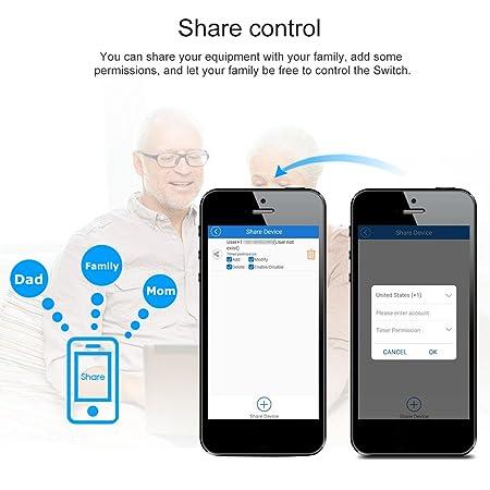 3500W para Control de Voz de Alexa y Control Remoto de App Blusea Pow R2 ITEAD Smart WiFi Switch Inal/ámbrico Controlador de Encendido//Apagado con Tiempo Real Medici/ón del Consumo de energ/ía 15A
