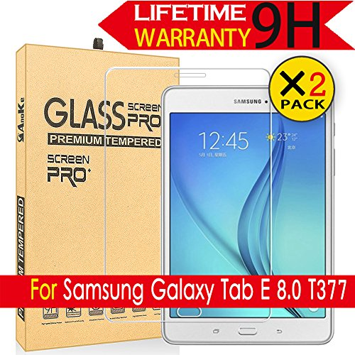 Galaxy Tab E 8.0 Glass Screen Protector,[2 Pack] AnoKe[Lifetime Warranty](0.3mm 9H) Tempered Glass Screen Protector Film Sheild For Samsung Galaxy Tab E 8.0 T377 Glass-2Pack