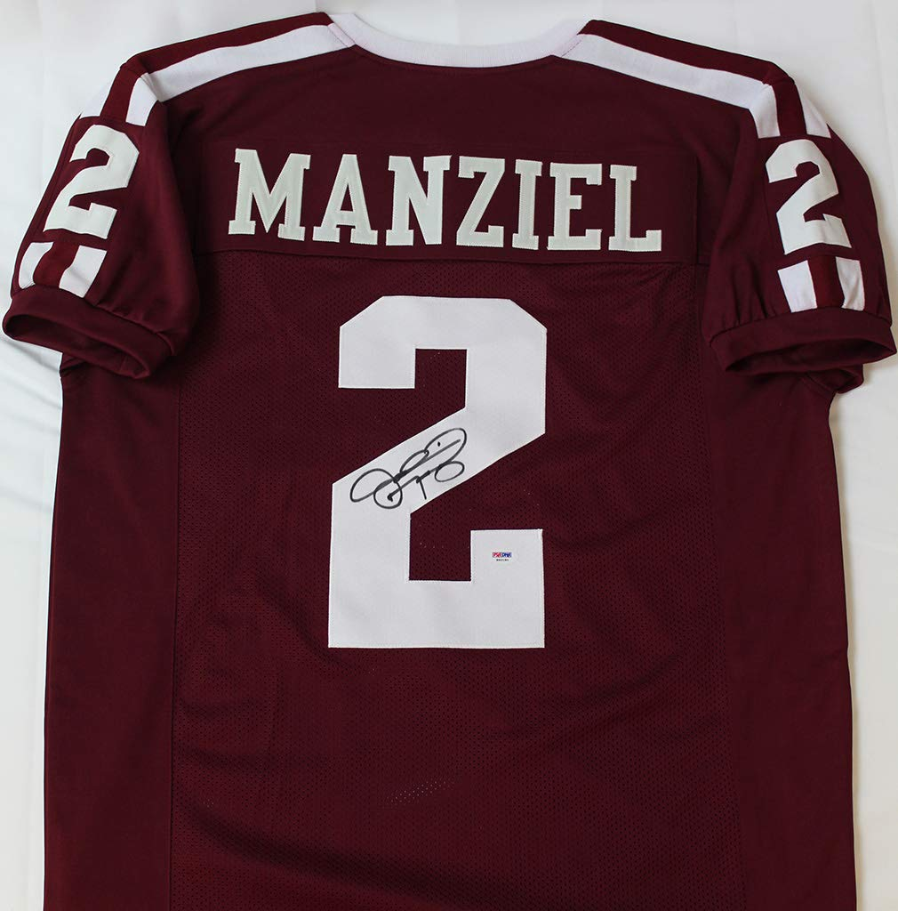 7087e0e462d Johnny Manziel Autographed Maroon Texas A&M Aggies Jersey - Hand Signed By Johnny  Manziel and Certified Authentic by PSA - Includes Certificate of ...