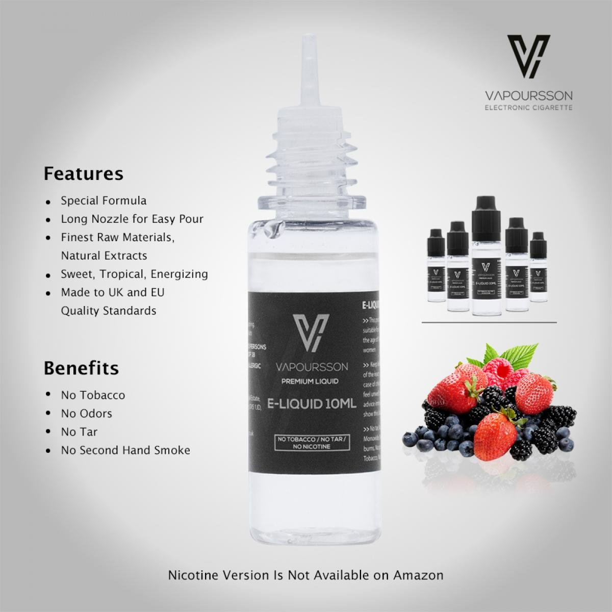 VAPOURSSON 5 x 10 ml Liquid E Berry pack | Berry Mix | Blueberry | Blackberry | Frambuesa | Fresa | Ingredientes de alto grado | VG & PG Mix | Hecho ...