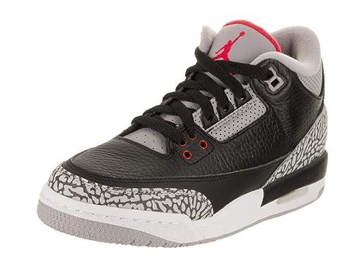 Nike Zapatillas Air Jordan 3 Retro Black Cement Para Hombre EN Cuero Gris y Negro 854261
