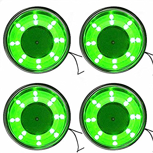 4 Pieces LED Stainless Steel Cup Drink Holder with Drain & LED Marine Boat Rv Camper (Green)