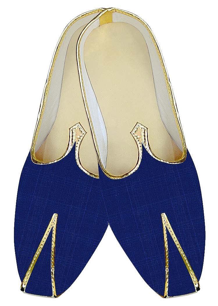 INMONARCH Hombres Azul Checks Hochzeit Mocasines de Boda Handgefertigte MJ015848 37 EU