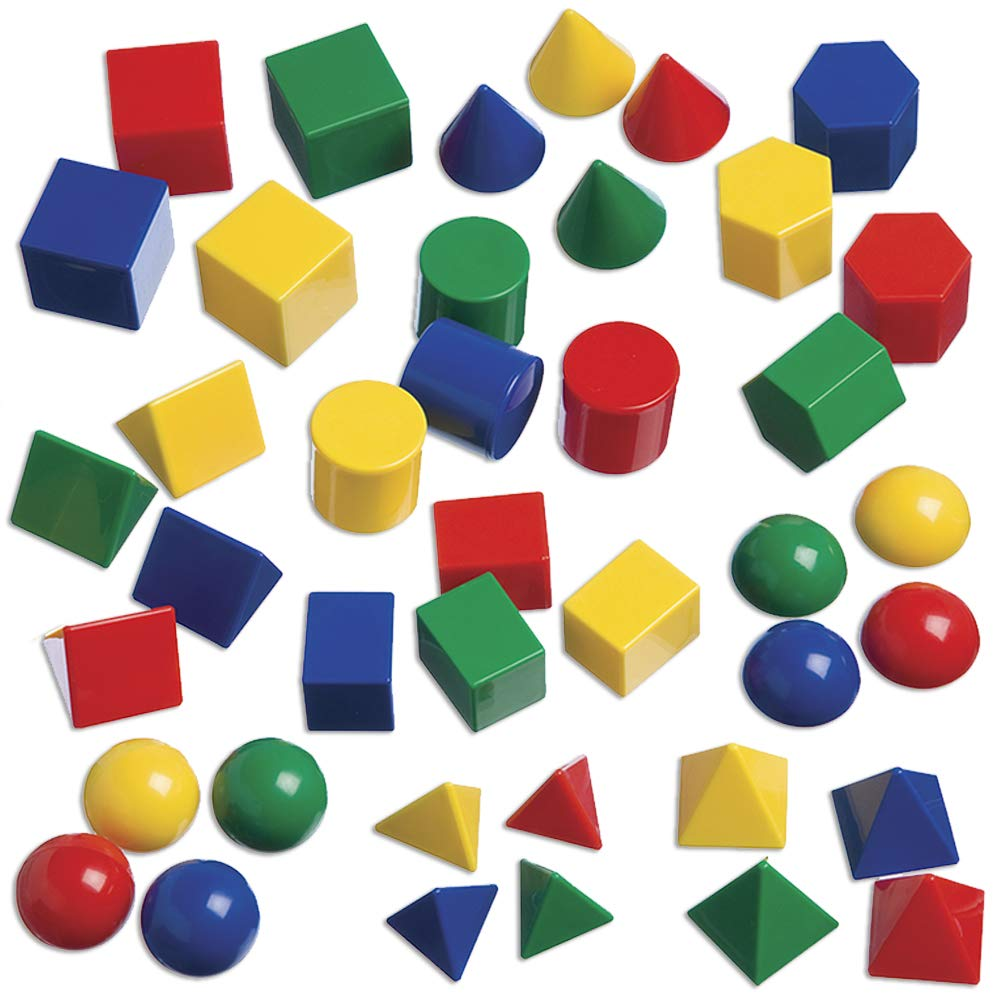 edx Education Mini Geometric Solids - Set of 40 - Multicolored 3D Shapes -  Early Math Manipulative and Geometry for Kids