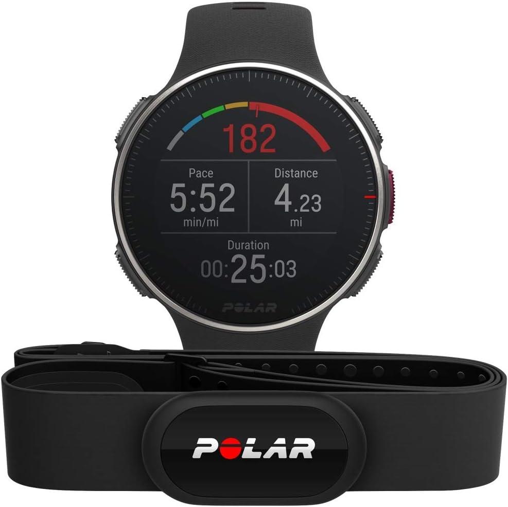 Polar Vantage V Titan HR:   Reloj Premium con GPS y Frecuencia Cardíaca. Caja de Titanio. Sensor H10 - Multideporte y perfil de triatlón - Potencia de running, batería ultra larga, WR50m. Negro/Rojo