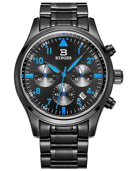 Reloj Binger hombres del deporte de cuarzo con Negro dial del cronógrafo y  pulsera de acero e6e312e65def