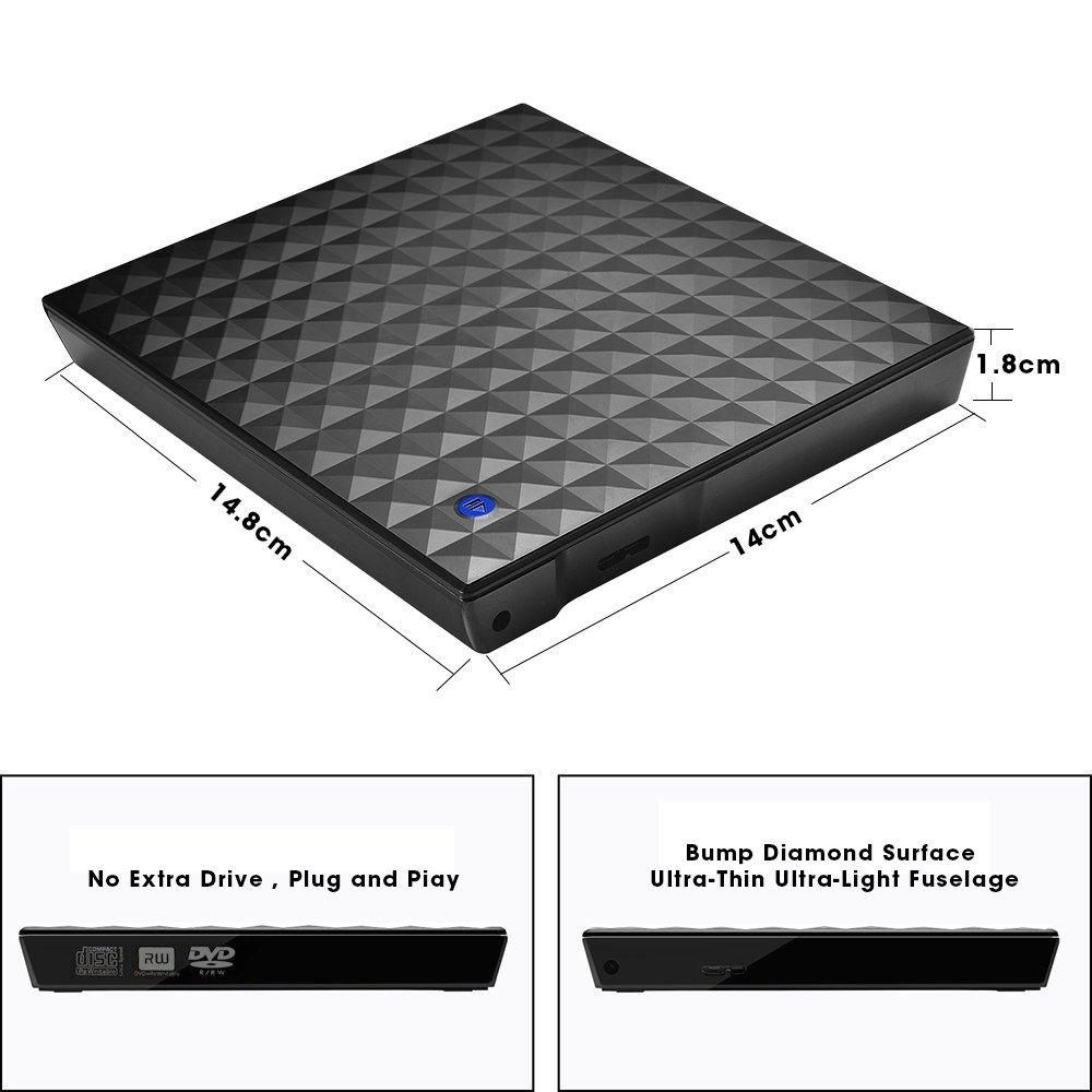 External CD Drive, Vansky USB 3.0 External DVD Drive for Laptop Touch Control Slim CD DVD +/-RW Burner Player Writer Rewriter for Mac Windows 10/8/7 Notebook PC Desktop MacBook Pro (Diamond Surface) by Vansky (Image #3)