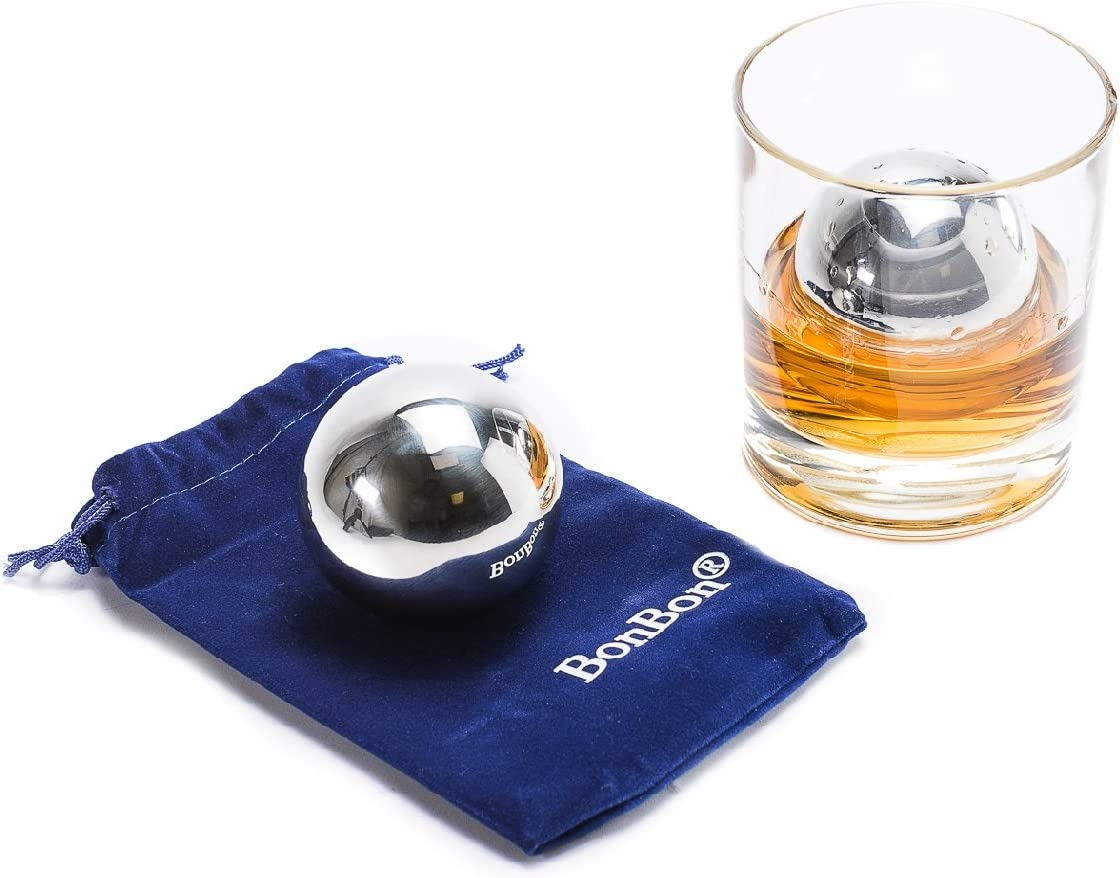 BonBon Large 5.5 cm pair of Whiskey Balls-Reusable Metal Stainless Steel,Scotch,Vodka,Wine Ice Chiller Rocks Gift Set. Chilling Stones Cubes Won't Dilute Your Favorite Drink