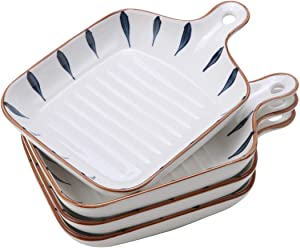 """EAMATE Ceramic Baking Dish, 6.5"""" Porcelain Lasagna Baking Dish with Single Handle, Small Size Dinner Plates for Individual, Set of 4"""