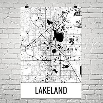 Amazon Com Modern Map Art Lakeland Map Lakeland Art Lakeland