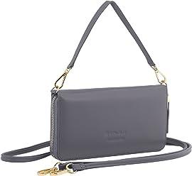 StilGut Smart Wallet en cuir - Pochette, sac, housse portable et sac à bandoulière, Gris Nappa